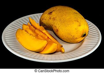 ataulfo, champaña, Primer plano, aislado,  mango