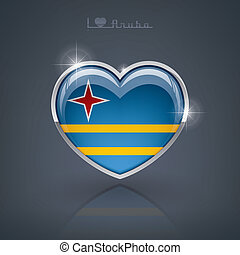 Aruba - Glossy heart shape flags of the Worlds: Aruba part...