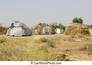 African village - African huts at the african village of the...