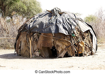 African hut of the dasanech or Galeb ethnic group in the...