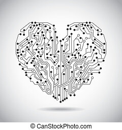 circuit heart over vintage background vector illustration