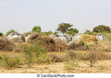 African village - African huts of the african village of the...