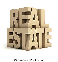 real estate 3d letters - real, sold, loan, sign, rent,...