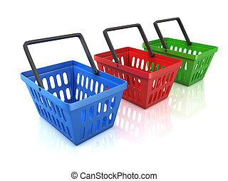 colorful shopping baskets isolated