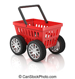 shopping basket on wheels 3d illust - market, isolated,...