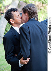 Gay Couple Kiss at Wedding - Handsome gay wedding couple,...