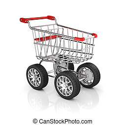 shopping cart with car wheels - retail, trolley, business,...