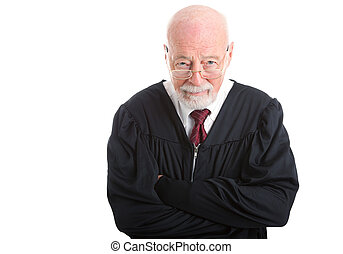 Judge - Skeptical - Wise old judge isolated on white...