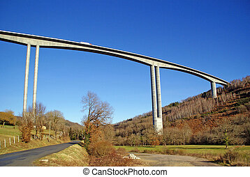 The A89 viaduct over the Correze Valley near Tulle, Limousin...