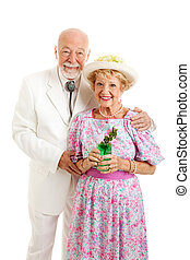 Portrait of Southern Seniors with Mint Julep - Portrait of...