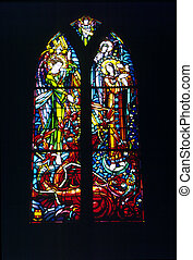 A stained glass window in the Abbey of Mont St Michel