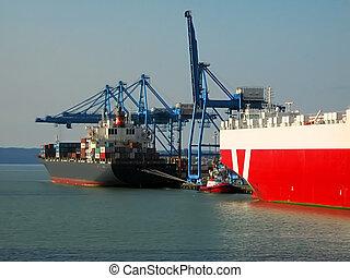 Shipping Terminal - A photograph of a shipping terminal...