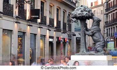 The famous Bear and the Strawberry tree statue in madrid