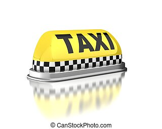 Taxi sign on white background - 3d, automobile, background,...