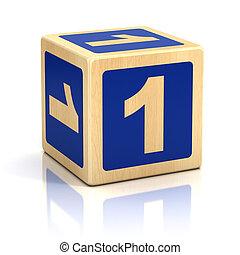 Número, um, 1, madeira, blocos, fonte