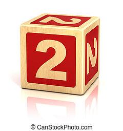 Número, dois, 2, madeira, blocos, fonte