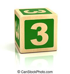 Número, três, 3, madeira, blocos, fonte