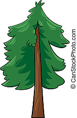 cartoon illustration of conifer tree - Cartoon Illustration...