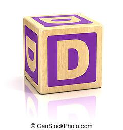 letra, D, alfabeto, cubos, fonte