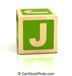 letra, J, alfabeto, cubos, fonte