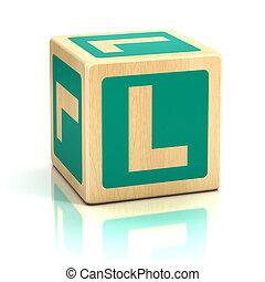 letra, L, alfabeto, cubos, fonte