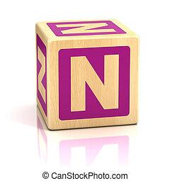 letra, n, alfabeto, cubos, fonte