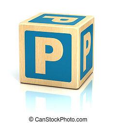 letra, P, alfabeto, cubos, fonte