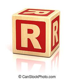 letra, r, alfabeto, cubos, fonte