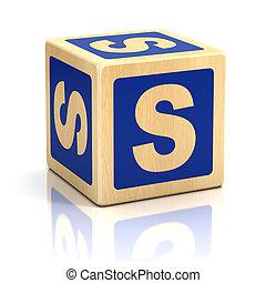 letra, s, alfabeto, cubos, fonte