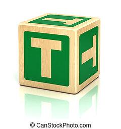 letra, t, alfabeto, cubos, fonte