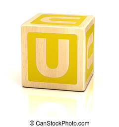 letra, U, alfabeto, cubos, fonte