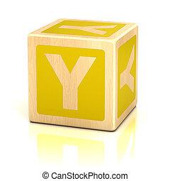 letra, Y, alfabeto, cubos, fonte