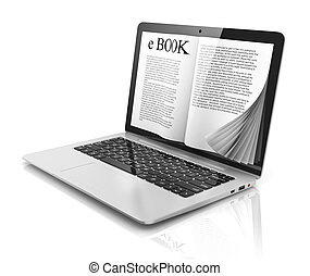 e-book 3d concept - book instead of - magazine, ebook,...