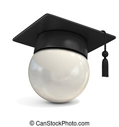white ball with graduation cap