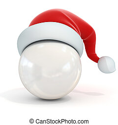 white ball with santa s hat