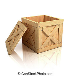 open wooden crate - box, boxed, shipping, ship, open, cargo,...