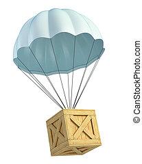 bois, caisse, Parachute