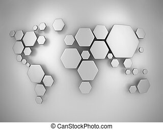 abstract simplified world map made - map, world, network,...