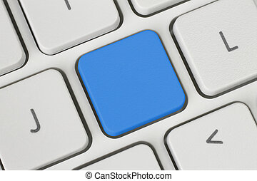 Blank blue button on the keyboard