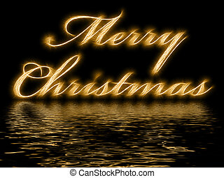 Merry Christmas - written with reflection in rippled water -...