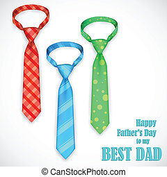Tie in Fathers Day Card - illustration of stylish tie in...