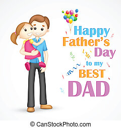 Father and daughter in in Fathers Day - illustration of...