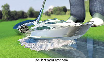 Yacht golf concept metaphorYacht hit by a golf club Kick off...