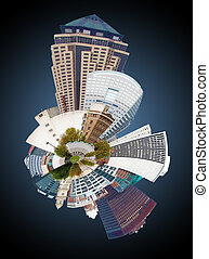 skyline of Des Moines Iowa - mini planet skyline of Des...