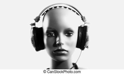 unique stop motion clip a fashion mannequin head wearing retro headphones
