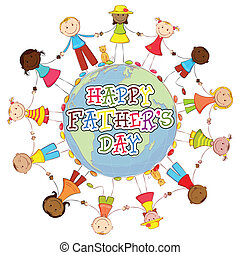 Happy Father's Day Background - illustration of kids of...