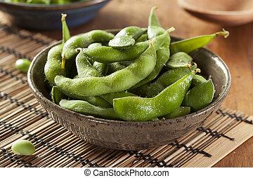 Green Organic Edamame with sea salt - Cooked Green Organic...