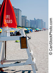 life guard - morning beach scenes at Myrtle Beach South...