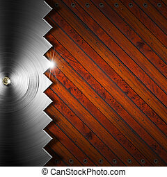 Wooden and Metallic Background - Concept of Carpentry - Wood...
