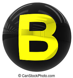 ball with the letter B - 3d black ball with the letter B...